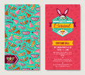 Carnival two sides poster, Funfair funny tickets Royalty Free Stock Photo