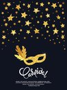 Carnival vector poster with golden mask and stars