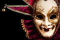 Carnival in venice image with ample copyspace isolated on black Royalty Free Stock Images