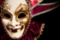 Carnival in venice image with ample copyspace isolated on black Royalty Free Stock Photos