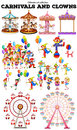 Carnivals objects and clowns illustration Royalty Free Stock Image