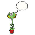 Carnivorous flower with thought bubble Royalty Free Stock Photos