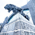 Carolina panthers statue covered in snow Royalty Free Stock Photo