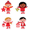 Caroling christmas kids collection Royalty Free Stock Images
