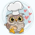 Caroon Owl in a cook hat with spoon