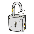 Caroon rusty old padlock hand drawn cartoon illustration in retro style vector available Royalty Free Stock Photos