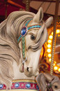 Carousel horse beautiful vintage white Stock Photography