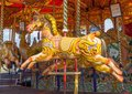 Carousel horse colourful wooden painted Stock Photo