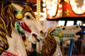 Carousel horse faces horses at the deerfield fair in deerfield new hampshire autumn Royalty Free Stock Image