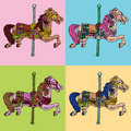 Carousel Horse Set Stock Photos