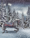 Carousel horse in the winter forest colorful snowy Royalty Free Stock Photo