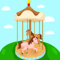 Carousel merry go round illustration of in the park Royalty Free Stock Photo