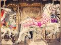 Carousel Merry-go-round Paris horse vintage background Royalty Free Stock Photo