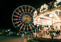 Carousel at night lights the moving Royalty Free Stock Image