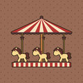 Carousel with ponies on dotted background Royalty Free Stock Photos