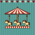Carousel with ponies on striped background with flags Stock Images