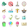 Carousel, shooting range, slides, cotton wool and other attributes.Amusement Park set collection icons in cartoon style