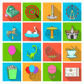 Carousel, shooting range, slides, cotton wool and other attributes.Amusement Park set collection icons in flat style