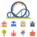 Carousels amusement attraction park side-show kids outdoor entertainment construction vector illustration.