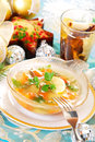 Carp in jelly with carrot for christmas Royalty Free Stock Images