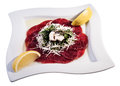 Carpaccio slices of with lemon and parmesan Royalty Free Stock Image