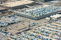 Carpark for new cars aerial view of in ready to be shipped Royalty Free Stock Photos