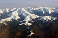 Carpathian mountains peaks aerial view of covered with snow Royalty Free Stock Images