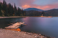 Carpathian Mountains. Synevir lake morning raft Royalty Free Stock Photo