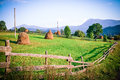 Carpathian village far away in mountains at the foot of goverla mountain highlands of ukraine Stock Image