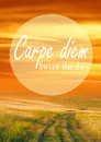 Carpe diem message and a beautiful landscape at sunset Royalty Free Stock Photography