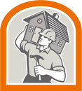Carpenter builder carrying house retro illustration of a construction worker with hammer on shoulder set inside shield done in Royalty Free Stock Photos