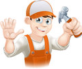 Carpenter or builder with hammer Stock Photo