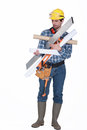 Title: Carpenter carrying miscellaneous tools