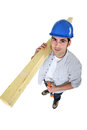 Carpenter carrying planks Royalty Free Stock Photos
