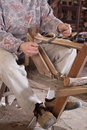 Carpenter cutting wood Royalty Free Stock Image