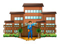 A carpenter in front of the house with a wooden gate illustration on white background Stock Photos