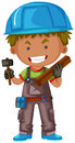 Carpenter with hammer and wood Royalty Free Stock Photo
