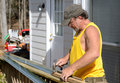 Carpenter Hammering Royalty Free Stock Photos