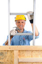 Carpenter with ladder and hammer closeup of a climbing a isolated over white the man wearing a work shirt jeans gloves is holding Royalty Free Stock Photography