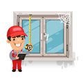 Carpenter Measures the Old Window Royalty Free Stock Photo