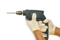 Carpenter's hand with  electrical drill Royalty Free Stock Photo