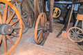 Carpenter`s shop, Wheelwright for the manufacture of wooden whee Royalty Free Stock Photo