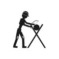 Carpenter with a saw Vector black icon on white background.