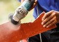 carpenter sawing wood Royalty Free Stock Photo