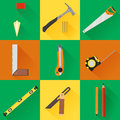 Carpenter tool flat icons vector set of of construction with tools like hammer saw angel level and measuring tape Royalty Free Stock Photos