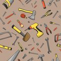 Carpenter tools seamless pattern home construction on a brown background vector illustration Royalty Free Stock Photos