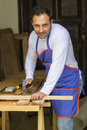 Carpenter using a hammer Royalty Free Stock Photo