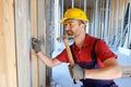 Carpenter using hammer Royalty Free Stock Photo