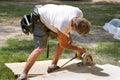 Carpenter Using Saw Royalty Free Stock Photo