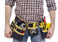 Carpenter wearing tool belt Royalty Free Stock Photo